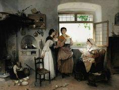 "Gerolamo Induno 1827.1890 ""Donne romane"""