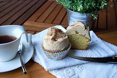 Vanilla Cupcakes with salty caramel frosting