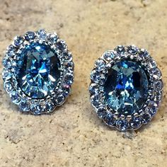 Swarovski® Crystal & 18K Platinum Plated Earrings A bold, vintage-inspired earrings | Material:	Brass 18K Platinum Plated Crystal ( Swarovski Element ) Light Blue & Clear / Gift Packaging Victoria Perez Collection Jewelry Earrings
