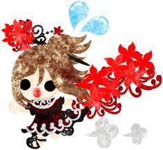 秋のフリーのイラスト素材走っている可愛い女の子とヒガンバナ  Free Illustration of autumn A running cute little girl and the spider lily   http://ift.tt/2bEfA38