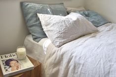 Linen Pillow Slips blue