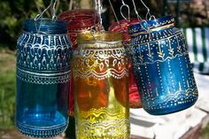 Upcycled Jar Lantern with gold Henna Style Accents by art-sisters on DeviantArt