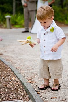 Perfect ring bearer outfit for the beach, if the shirt was in a different color!