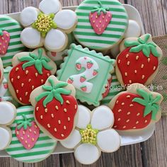 My strawberry cutter was too small, so I used an acorn. Valentine Cookies, Easter Cookies, Fun Cookies, Holiday Cookies, Sugar Cookies, Decorated Cookies, Valentines, Strawberry Cookies, Crack Crackers
