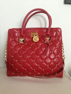Michael Kors Handbag Hamilton Quilted Large Tote Red