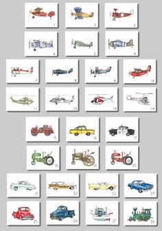 You are purchasing a set of four 8x10 watercolor prints featuring vintage airplanes, trucks or helicopters. These are perfect for any childs room