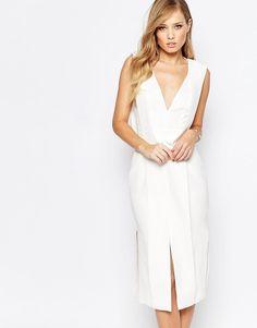 Keepsake+Origami+Midi+Dress+in+Ivory