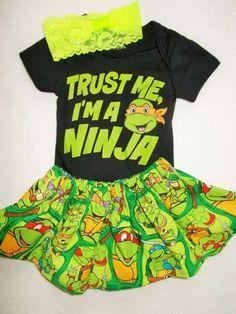 TMNT superhero costume outfit girl dress skirt tutu shirt Teenage Mutant Ninja Turtle coming home Birthday Party supergirl NB 3 6 9 toddler Thats better!