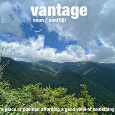 """@wordoftheday on Instagram: """"It took a lot of effort and hard work to get to the hike's perfect vantage point. ⛰ . . . . . #vantagepoint #hike #getoutside…"""" Get Outside, Nice View, Hard Work, Vocabulary, Effort, Period, Hiking, Take That, Mountains"""