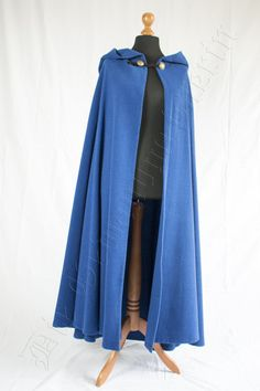 Halbkreismantel aus blauer Wolle Mantel, Duster Coat, Jackets, Shopping, Fashion, Ladies Clothes, Wool, Figurine, Down Jackets