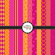Digital Paper Pack  Pink and Orange Digital by StripedElephants, $3.90
