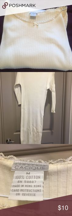 Gently Worn Long Cacique Night gown Gently Worn, Long Cacique Night gown. 3/4 length sleeves. Has small pick/hole noted on the back, near the bottom (see pic 5). Has been stored in my hope chest, discoloration noted at collar. Cacique Intimates & Sleepwear Pajamas