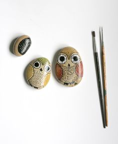 Hand Painted StonesOwls and Moon by kucukbakkal on Etsy, $28.00