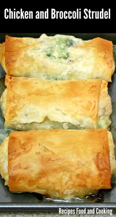 Chicken and Broccoli Strudel Tender pieces of moist chicken with broccoli in gravy wrapped in filo dough. Chicken and Broccoli Strudel is a great make ahead dish. Phylo Dough Recipes, Phyllo Recipes, Strudel Recipes, Puff Pastry Recipes, Meat Recipes, Appetizer Recipes, Chicken Recipes, Cooking Recipes, Appetizers