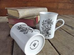 Porcelain Coffee Mugs with Rosemaling Design Set by SwedishCountry, $18.00