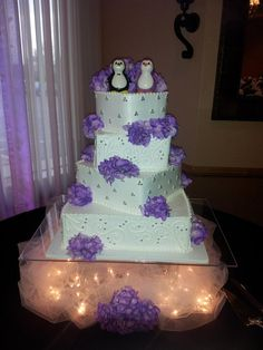 4 Tier Wedding Cake Penguin Topper Wish It Was Blue Thou