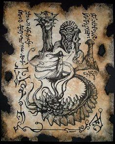 Cthulhu larp VERMIS MYSTERIIS Witch Necronomicon Fragment occult magick outsider dark fantasy art