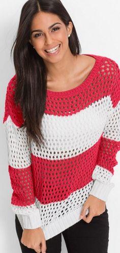 Пуловер с узором Сетка спицами
