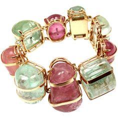 Pre-owned Seaman Schepps Aquamarine Pink Tourmaline Gold Bracelet ($25,000) ❤ liked on Polyvore