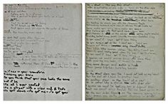 Davids original hand-written lyric for the 'Sweet Thing/Candidate/Sweet Thing (Reprise)' suite and is the working manuscript in which the two separate songs are linked together for the first time.