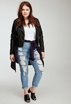 Plus Size FOREVER 21+ Distressed Boyfriend Jeans