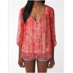 Anthro Pins and Needles sheer red top size small Size small  Sheer  Polyester   Anthropologie Anthropologie Tops Blouses
