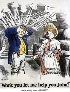 """Pro-suffrage poster circa 1910. The man is burdened by all the different rallying cries of the varying parties and his wife says: """"Won't you let me help you?"""""""