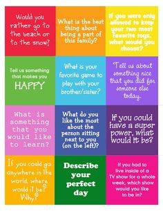 Conversation Starters for children.