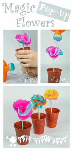 "Magic Pop Up Flowers, an interactive ""Mary, Mary Quite Contrary"" nursery rhyme craft for kids. These flowers really ""grow""! Spring Activities, Craft Activities For Kids, Preschool Crafts, Fun Crafts, Crafts For Kids, Craft Kids, Crab Crafts, Magic Crafts, Infant Activities"