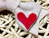 Large felt hair bow with heart