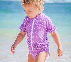 Sassy Surfer Purple SPF Sun Protective Girl Rash Guard Swimsuit Set | SwimZip Rash Guard Swimwear