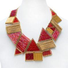 """""""Deco-cubism"""" bugle bead necklace"""