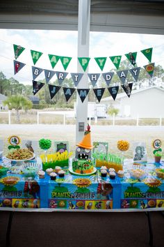 Plants vs Zombies food and candy table for birthday party!