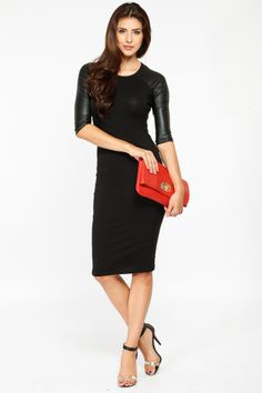 72de9fc7897 Classic Black Leather Sleeve Dress   Cicihot sexy dresses