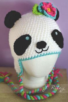 Crochet Panda hat. Inspiration image only. No link.