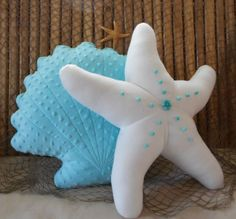 Scallop shell pillow turquoise minky dot shell by Fleeceofnature