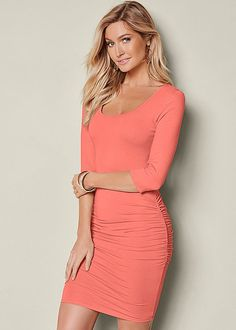 Venus long sleeve ruched dress in burnt coral.