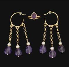 A PAIR OF BYZANTINE GOLD EARRINGS, with amethysts and pearls APPROXIMATELY 5th-6th-century AD + ring