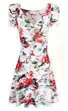 White Short Sleeve V-neck Florals Print Pleated Dress $22.46