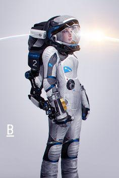 Simple space suits.  Hard Sci Fi Near future.   ArtStation - SpaceSuit Girl, Benoit Godde