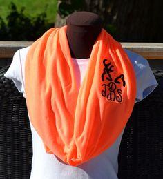 Monogrammed Scarf Infinity Scarf Orange Framed by byrdlegs on Etsy, $25.00
