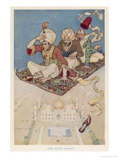"""illustration UK : Monro S. Orr (écossais), """"le tapis volant"""", dans les 1001 nuits, 1913, turban"""