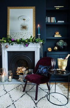 goes glam rock for Christmas with Amara Photo credit – Jane Looker Photography The Gold is a Neutral house goes My Living Room, Home And Living, Living Room Decor, Rock N Roll Living Room, Blue And Gold Living Room, Peacock Living Room, Peacock Room, Decor Inspiration, Living Room Inspiration