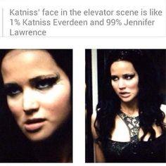 La cara de Katniss en la escena del ascensor es 1% Katniss Everdeen y 99% Jennifer Lawrence.