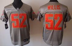 Nike San Francisco 49ers #52 Patrick Willis Gray Shadow Elite Jersey