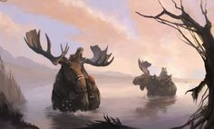 SciFi and Fantasy Art 2006 Commission:Moose Riders: Swamp by Dragos Stanculescu