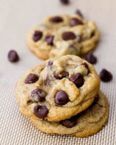 Soft Chocolate Chip Cookies - So thick. So soft. And SO chewy. Secret ingredient - cornstarch!!