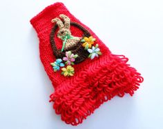 Hand Knit Red Dog Sweater with Crochet Bunny (size small)