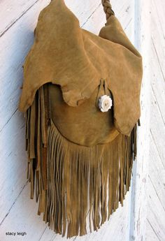 Rustic Leather Long Fringe Bag in Mustard Brown by by stacyleigh