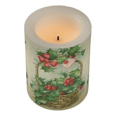 Vintage Christmas Basket with Holly Flameless Candle
